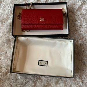 Red Gucci wallet on a chain. NWT